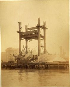 These images show Tower Bridge under construction in the They were saved from a skip many years ago by a neighbour of mine. The skip. Victorian London, Vintage London, Old London, London History, British History, Uk History, Old Pictures, Old Photos, Vintage Photos