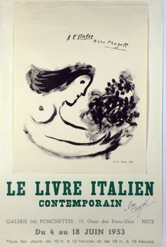 Original Künstler Plakat Chagall Original Artist Poster Chagall Affiche original Chagall  title Le Livre Contemporain Italy  technology lithography