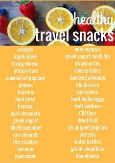 Healthy Travel Snacks. A list of healthy food for your next road trip. www.modernhoney.com #rvmeals
