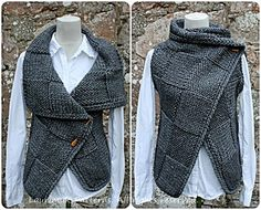 Knitting PATTERN-Big square wrap, womens sleeveless jacket pattern, cardigan pattern - Knitting pattern Big Square Wrap is full of sumptuous texture and cosy comfort. Features big squares of different stitc. Poncho Pullover, Baby Cardigan, Knit Jacket, Crochet Cardigan, Knit Crochet, Wrap Cardigan, Crochet Edgings, Knit Cowl, Crochet Pattern