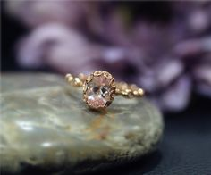 Fancy Vintage Stackable Engagement Ring Natural Pink VS Morganite Oval Ring Rose Gold 14K Solid Ring Wedding Ring Promise Ring by NidaRings on Etsy https://www.etsy.com/listing/246988916/fancy-vintage-stackable-engagement-ring
