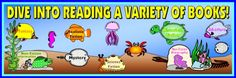 """This """"Dive Into a Variety of Books"""" set includes 11 different fish sticker chart templates and this 5 page bulletin board display banner.  Encourage your students to """"dive into reading"""" with this sticker chart set available from Unique Teaching Resources."""