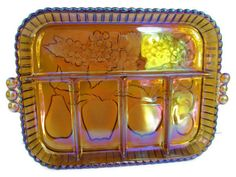 Amber  Carnival Glass  Vintage Carnival Tray  by BeckVintage, $24.00