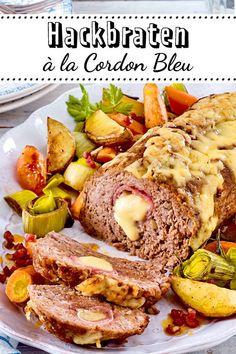 Hackbraten a la Cordon Bleu - Hackfleisch-Rezepte - Baked Meat Recipes, Healthy Meat Recipes, Meatloaf Recipes, Mexican Food Recipes, Beef Recipes, Salad Recipes, Chicken Recipes, Cooking Recipes, Barbecue Recipes