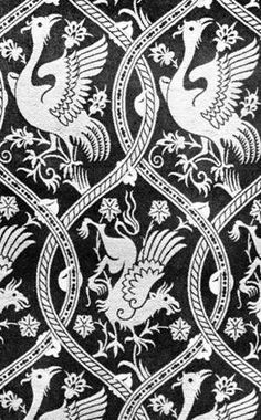 Pattern drawing of silk fabric of Burial vestment  of queen (Blanche of Valois?), 1st half of 14.cent.  Royal crypt of Prague castle.