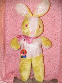 """26"""" Vintage plush rabbit I just found in a local shop. Still has a tag on him! It says World Toys mfg Corp on it."""