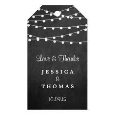 Chalkboard string lights wedding favor gift tags