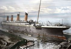 Photo of the Titanic under construction. The ship was built by the firm of Harland & Wolff at their shipyard on Queen's Island, in Belfast, Ireland.