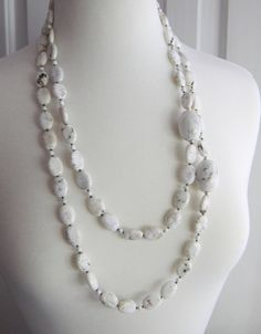 Long Necklace White necklace Two strands by JulieEllisDesigns