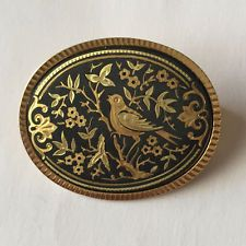 Gold plated with black enamel oval shape brooch with flowers and bird d... Lot 3