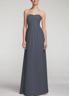 LOVE the long, maxi style Bridesmaid Dress (Davids Bridal, 150.00). Has many colors including dark grey, light pink and champagne