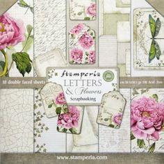 Stamperia  Letters & Flowers 12x12 10 listů  228,- tvorilci