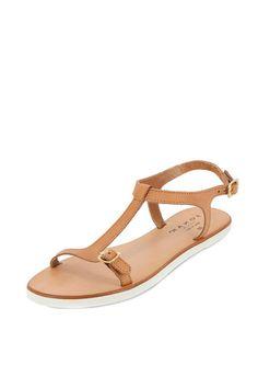 Vente La sélection chaussures / 19747 / Jonak / Sandales plates / Sandales en cuir Camel