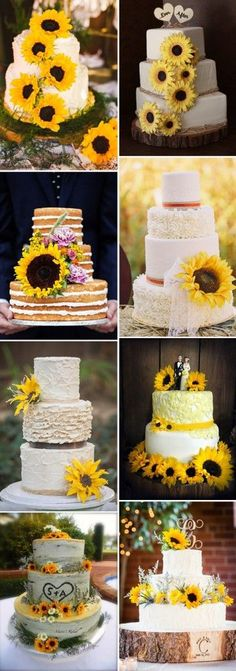 sunflower wedding cakes for fall weddings