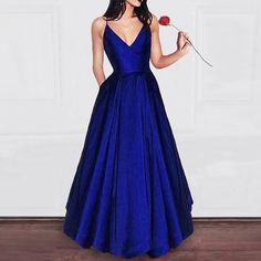 royal blue prom dress satin a line party formal occasion dress