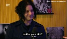 """Jack discussing the vulture on the cover of """"Blunderbuss"""" [animated gif]"""