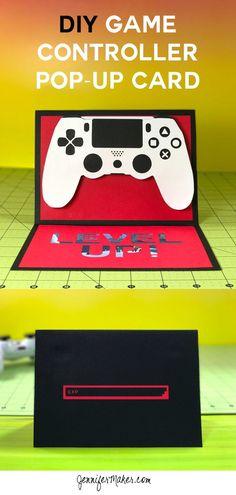 DIY Gamer Card with Gift Card Holder Tutorial   Pop-Up Handmade Card   Cricut 3D Card