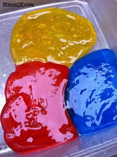 How to Make Jelly Slime for Sensory Play. These would be great for light table play.