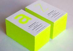 carte de visite tranche colorée jaune fluorescent qualitative