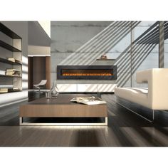 Cool-Long-Wall-Mount-Electric-Fireplace-By-Napoleon-Insert-With-Glass-Design-On-Grey-Concrete-Wall-For-Living-Room-With-…