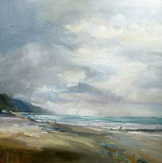 David Atkins: A Blustery Day on the Beach, Charmouth, Dorset Campden Gallery, fine art, Chipping Campden, camden gallery, contemporary, contemporary arts, contemporary art, artists, painting, sculpture, abstract painting, gloucestershire,  cotswolds, painting for sale, artwork for sale, modern art gallery, art exhibitions,arts gallery, gallery art, art gallery UK