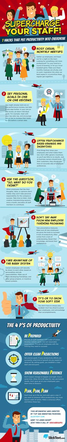 Your Staff! 7 Hacks That Put Productivity Into Overdrive [Infographic] Supercharge Your Staff! 7 Hacks That Put Productivity Into Overdrive [Infographic]Supercharge Your Staff! 7 Hacks That Put Productivity Into Overdrive [Infographic] Business Management, Time Management, Business Tips, Business Marketing, Staff Morale, Staff Motivation, How To Motivate Employees, Staff Meetings, Employee Recognition