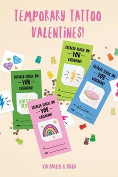 Temporary Tattoo Valentine Printables for Kids via barley & birch