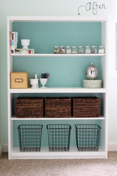 what a difference paint makes. plain bookcase to pretty