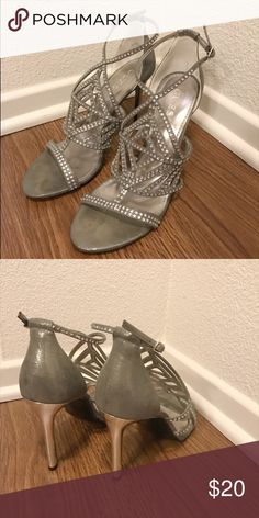 Guess Heels Beautiful grey heels with diamond like stones all around! Worn for a formal occasion once! Great condition! Would go with most dress colors! Guess Shoes Heels