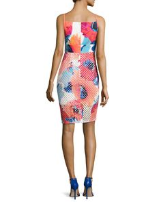 Floral-Print Perforated Skirt Dress