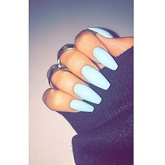 Baby blue or light blue acrylic nails. So cute!