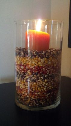 Layered Indian corn centerpiece