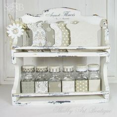vintage spice rack for button storage altered items pinterest rh pinterest com shabby chic wall spice rack shabby chic cream spice rack