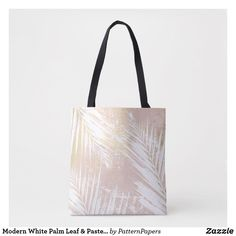 0c78d3febeb5 Shop Modern White Palm Leaf   Pastel Pink And Gold Art Tote Bag created by  PatternPapers.