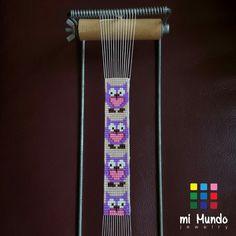 """Purple Owl"" miyuki bracelet designed and made by Mi Mundo Jewelry"