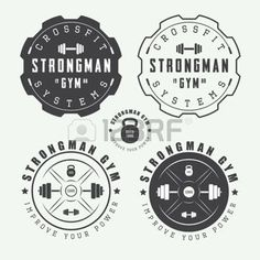 gym: Set of gym logos, labels and slogans in vintage style