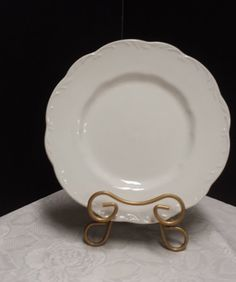 Versatile White English Ironstone Dinner Plate    Picture 2 shows the delicate understated raised design    Sterling, Colonial    J & C Meakin