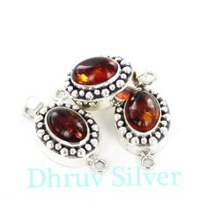 Sterling Silver Clasp with Amber from Poland .buy online at www.dhruvsilver.com