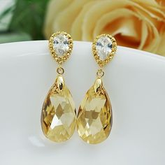 Golden Shadow (L) Swarovski Crystal Bridal Earrings - Earrings Nation