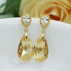 Golden Shadow (L) Swarovski Crystal Bridal Earrings - Earrings Nation