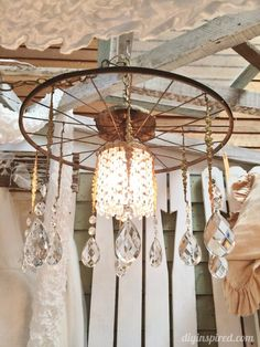Repurposed Lighting with Bicycle Wheels and Crystals