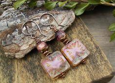 Pink Glass and Copper Earrings Picasso Czech by BonArtsStudio