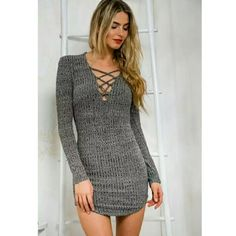 ⭐NEW! Dark Gray Lace Up Front Bodycon Dress ⭐LAST ONE⭐  Customer Favorite - Rated 5🌟's  Dark Gray  Ribbed  Knit (sweater) Bodycon  V-Neck  Lace Up Front  Back Zipper  Poly Blend  Machine Wash  Size Small  New in package  ▪ Price is Firm  ▪ No Trades ▪ Fast Shipping Boutique  Dresses Mini