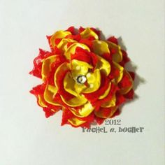 YELLOW and RED Flower hair clip  Ribbon, Lace, Rhinestone. Barrette