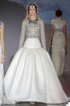 jesus peiro bridal 2016 nanda devi bliss giving goddess drop waist wedding dress silver embroidery smokey tulle long sleeve top
