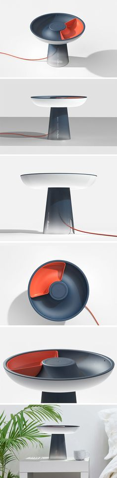 Svamp bedside lamp has both a strong form and function, making it an extremely interesting design that is great. The light gently emits out of the translucent top section, calmly bathing the side table in light. On top of this sits its most unique feature, and one that brings great function to the product; the donut-shaped dish can be used to hold small items, while the smaller sub-section can keep items separate. Id Design, Lamp Design, Form Design, Task Lighting, Lighting Design, Light Crafts, Bedside Lamp, Home Gadgets, Fashion Designers