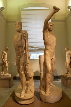 "heinzplomperg: "" retro-gay: "" Statues of Harmodius and Aristogeiton - Lovers and tyrannicides who helped establish democracy in Athens. Roman copies of Greek originals "" Schöne Dinge, … """
