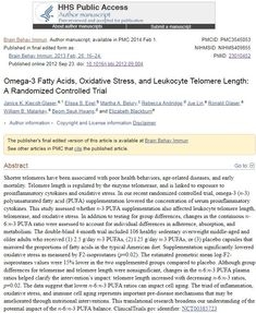 Fatty Acids, Oxidative Stress, and Leukocyte Telomere Length: A Randomized Controlled Trial Randomized Controlled Trial, Oxidative Stress, Trials, Omega