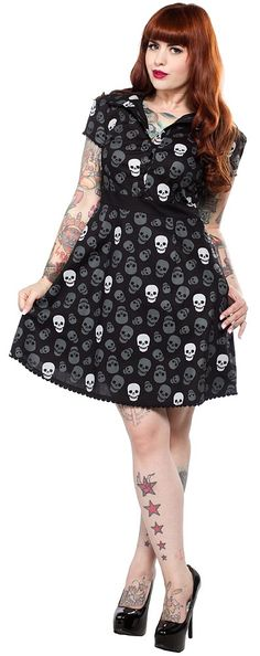 SOURPUSS LUST FOR SKULLS RIZZO DRESS  The new and improved Rizzo dress is now available in our ever popular Lust For Skulls pattern! This reincarnation now includes pockets - the best invention ever! You'll look deceptively sweet in this ghoulish style. $51.00 #sourpuss #sourpussclothing #skulls #dress