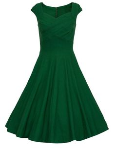 Dresstells 50s Retro Audrey Hepburn Swing Pinup Polka Dots Rockabilly Dress Prom Dress Green 3XL